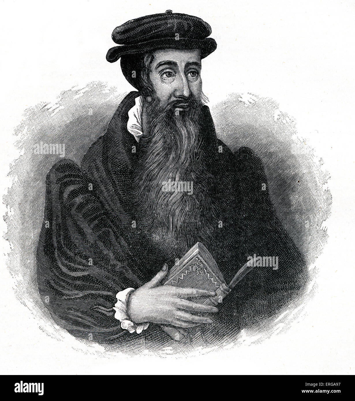 John Knox- Scottish reformer and protestant leader. 1505-1572. From portrait of the period. - Stock Image