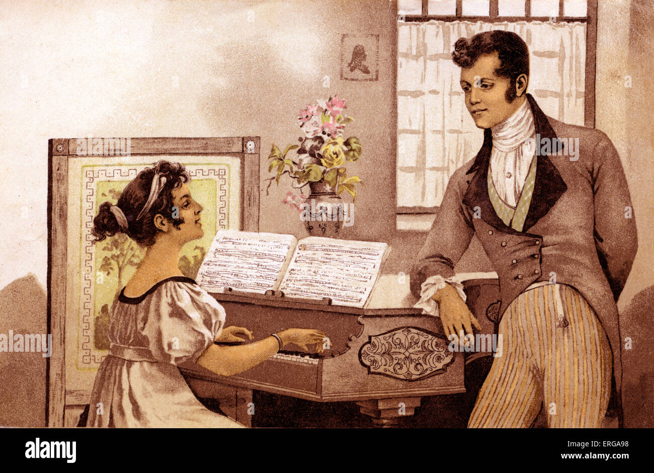 Regency couple performing duet (late 18th/early 19th century). - Stock Image