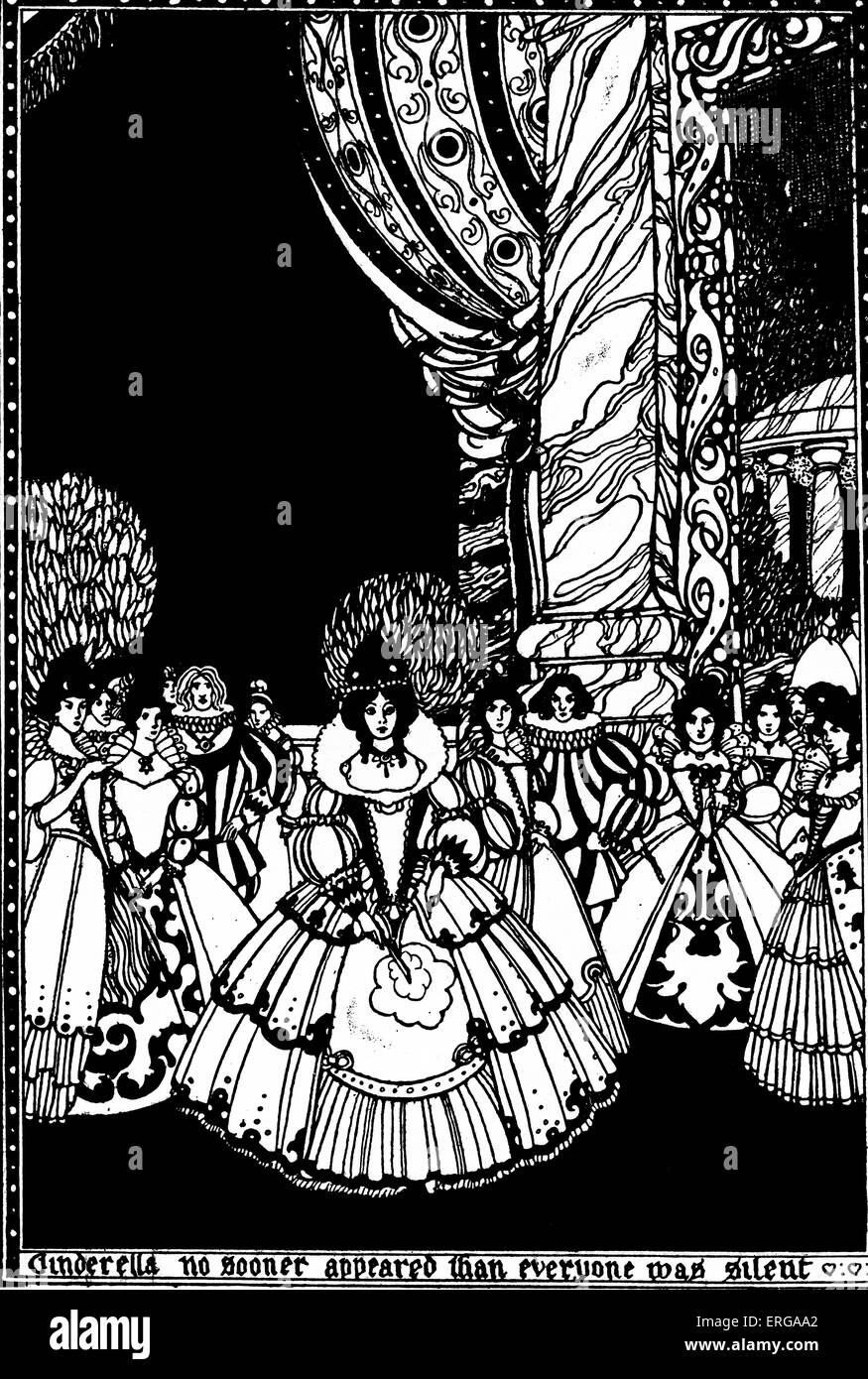 Cinderella arrives at the ball - illustration to The English Fairy Book, c. 1917. Caption: 'Cinderella no sooner - Stock Image
