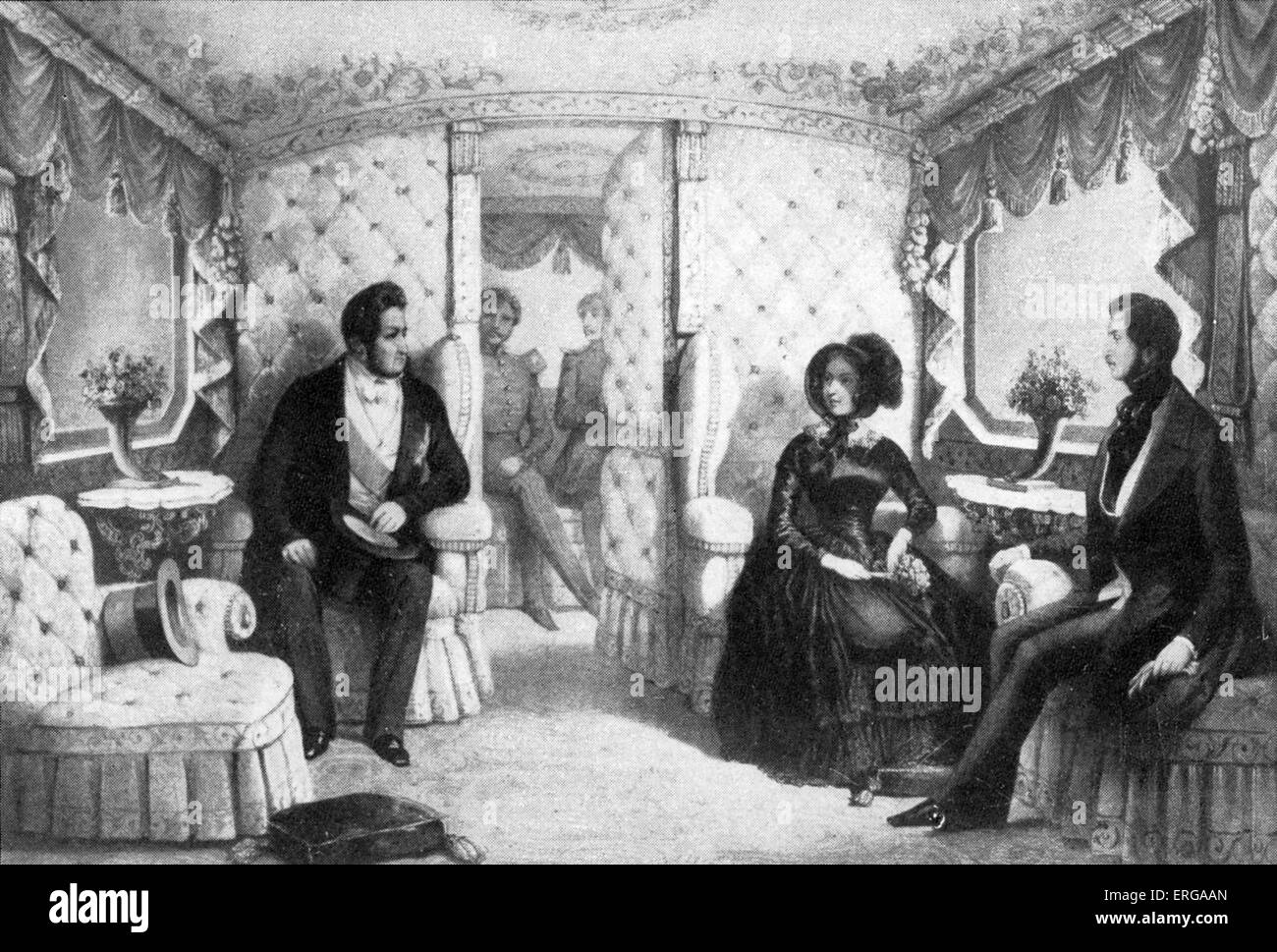 Queen Victoria receiving Louis Philippe I of France in royal railway carriage, ca 1844. - Stock Image
