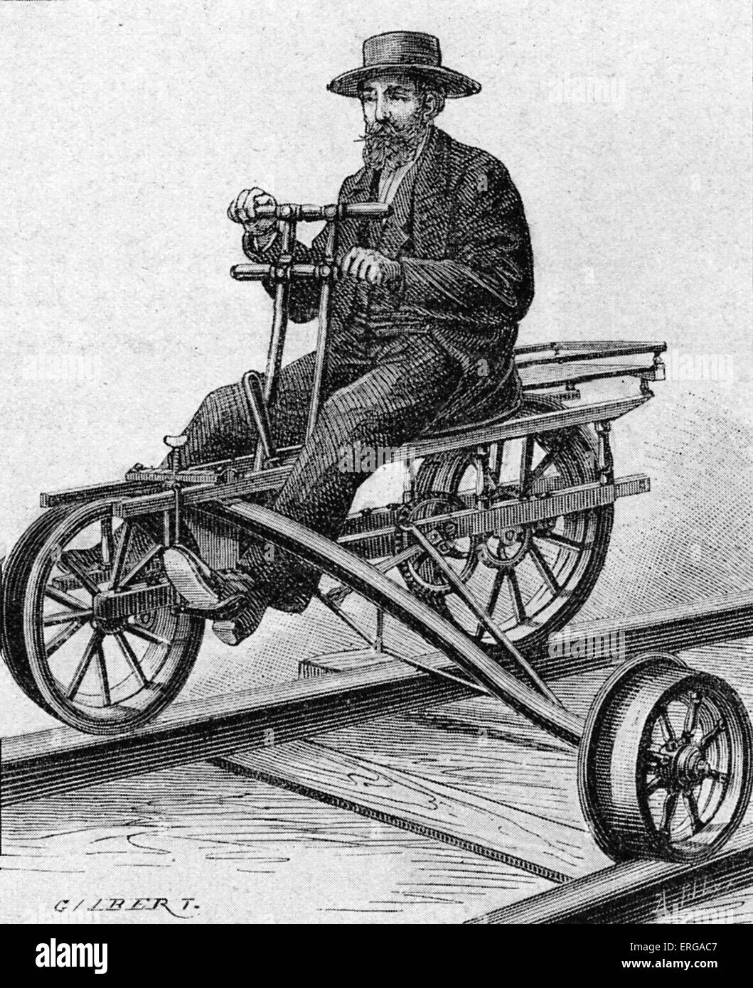 Velocipede used for inspection of American railway lines from Michigan, Port Huron-Grands and Saint-Louis to Chicago. - Stock Image
