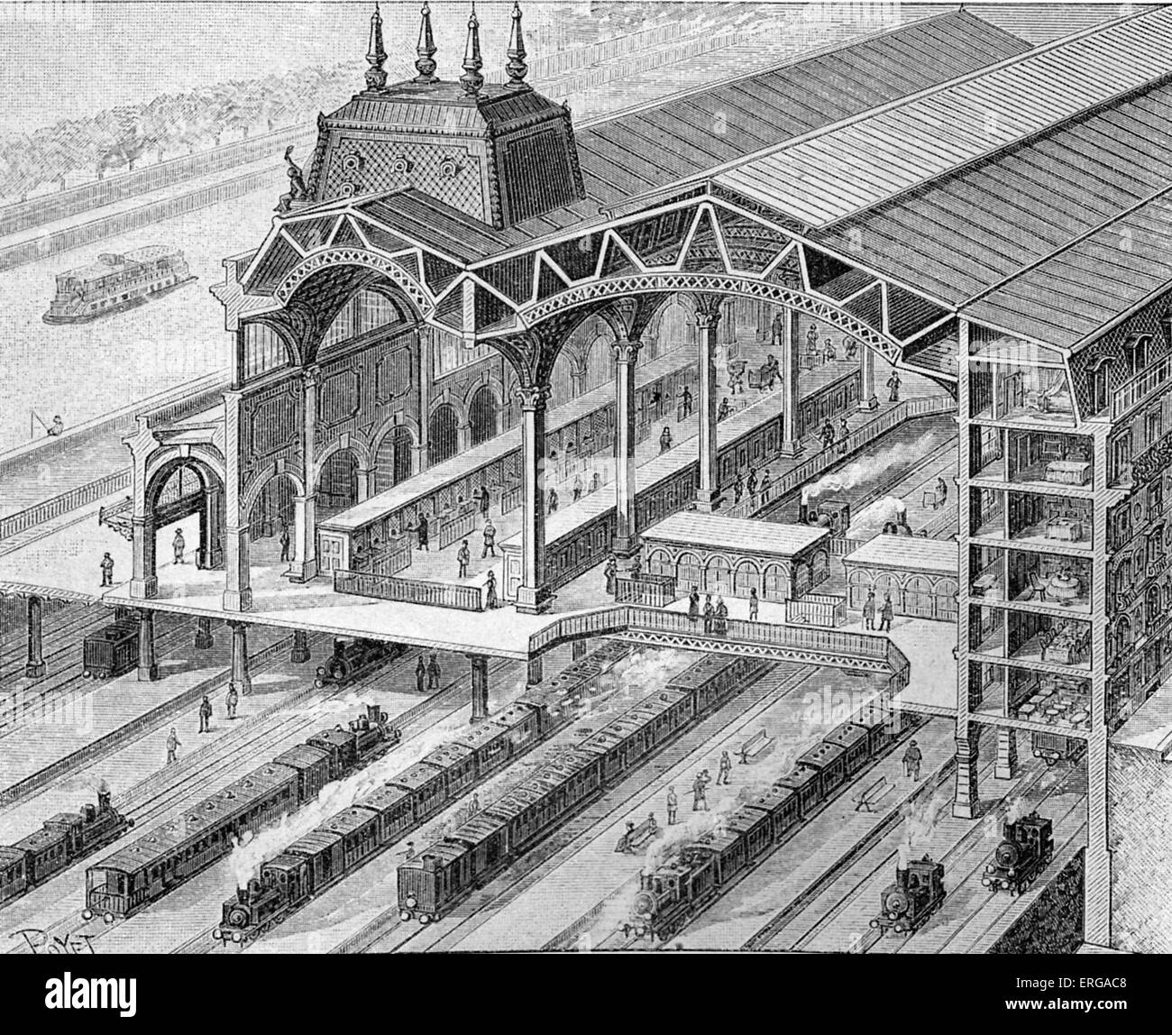 Overview of the Quai d'Orsay railway station during construction by the Orleans railroad company in 1898. The station Stock Photo
