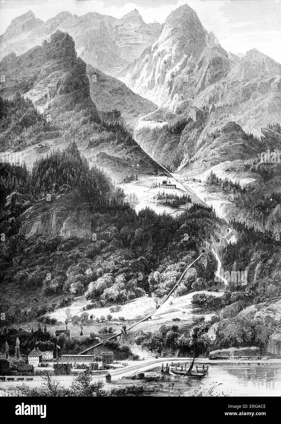 The Pilatus Railway (Pilatusbahn) is a mountain railway in Switzerland and is the steepest rack railway in the world, - Stock Image