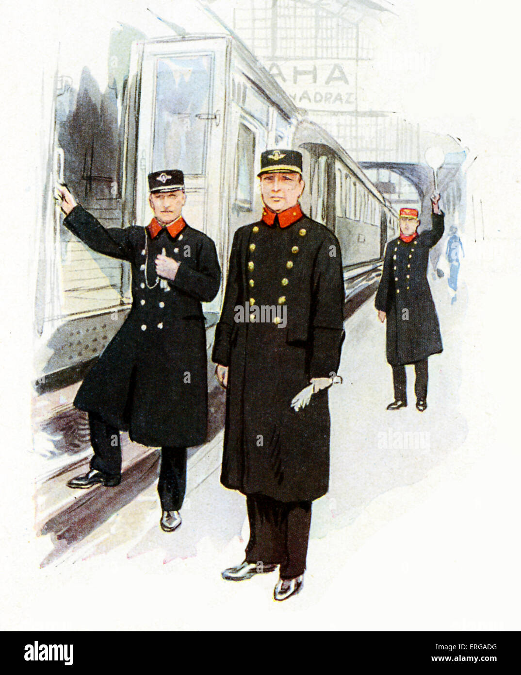 Railway staff uniforms, 1920-30s: Czechoslovakian railway station master, conductor and signaller. - Stock Image
