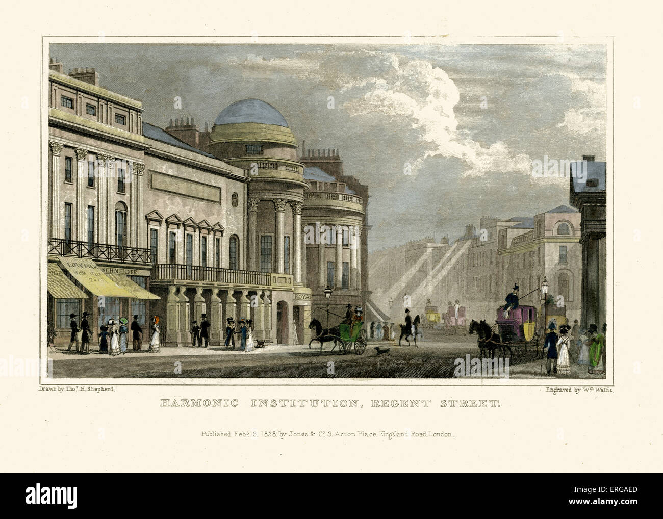 London Views:  Harmonic Institution, Regent Street.  Drawn by Thomas Hosmer Shepherd 1792 – 1864. Engraved by W. - Stock Image