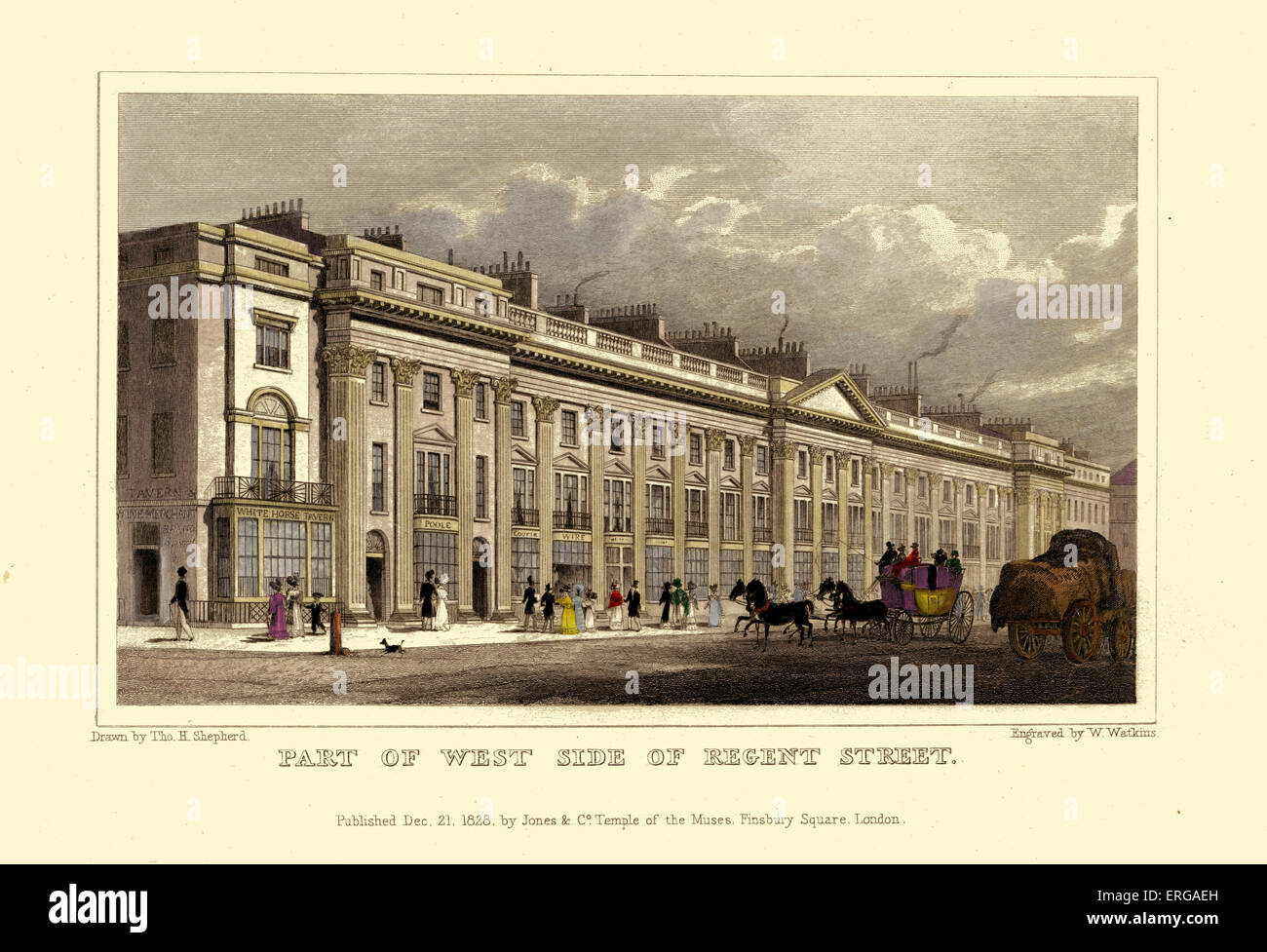London Views:  Part of West Side of Regent Street.  Drawn by Thomas Hosmer Shepherd 1792 – 1864. Engraved by W. - Stock Image