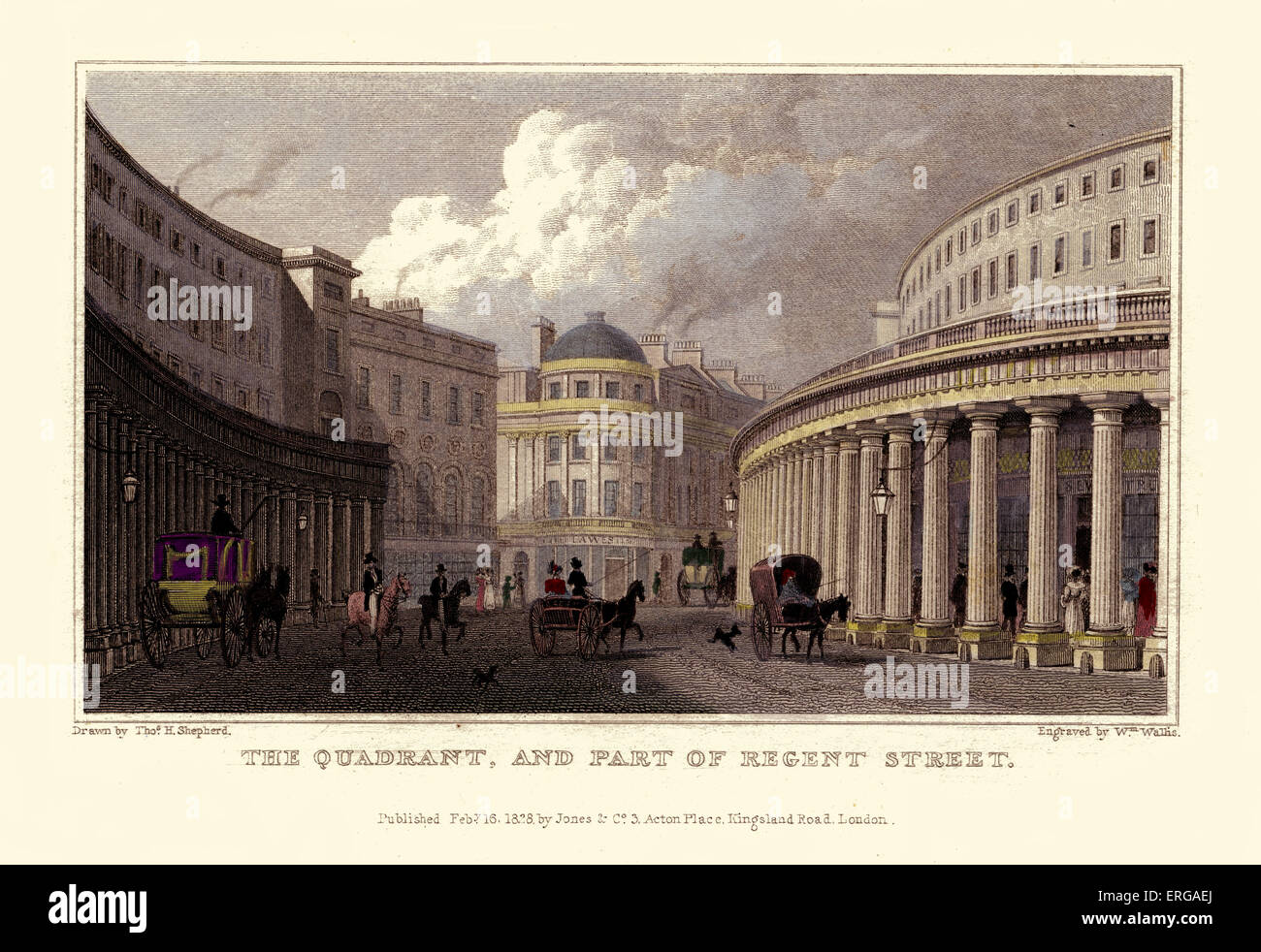 London Views:  The Quadrant, and part of Regent Street.  Drawn by Thomas Hosmer Shepherd 1792 – 1864. Engraved by - Stock Image