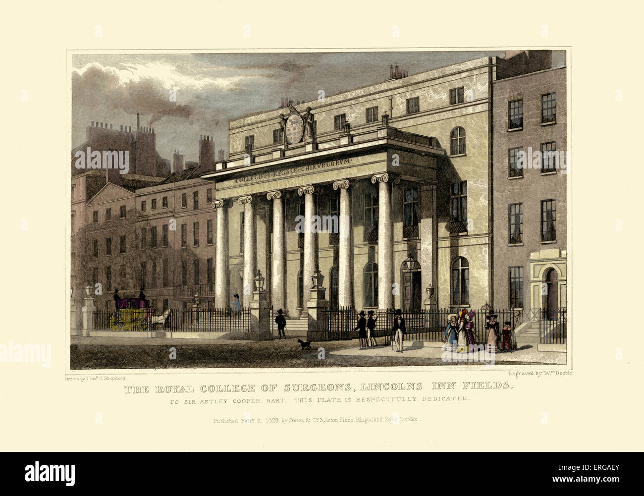 London Views:  The Royal College of Surgeons, Lincolns in Fields.  Drawn by Thomas Hosmer Shepherd 1792 – 1864. - Stock Image