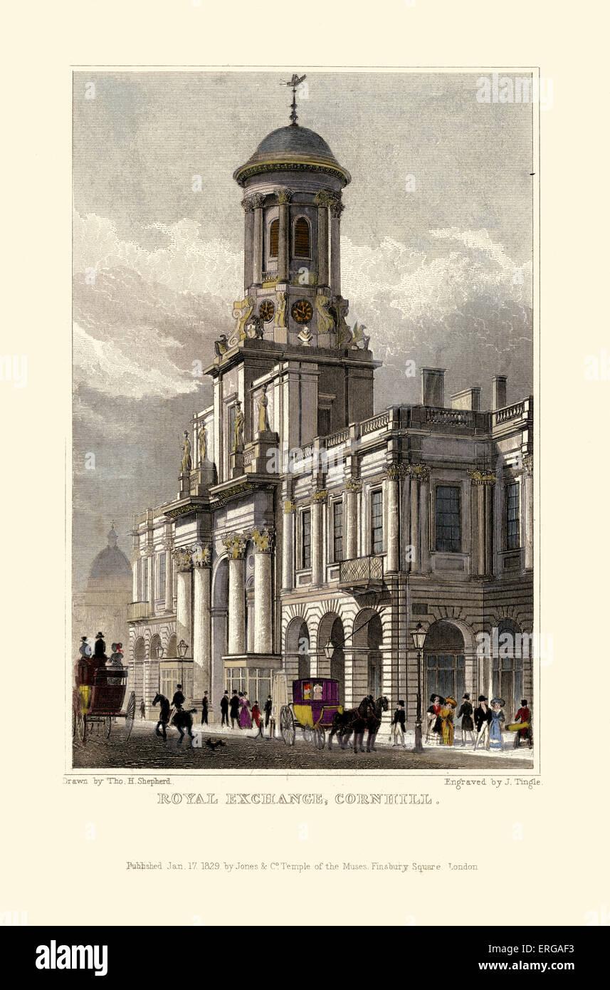 London Views:  Royal Exchange, Cornhill. Drawn by Thomas Hosmer Shepherd 1792 – 1864. Engraved by J Tingle. Published - Stock Image