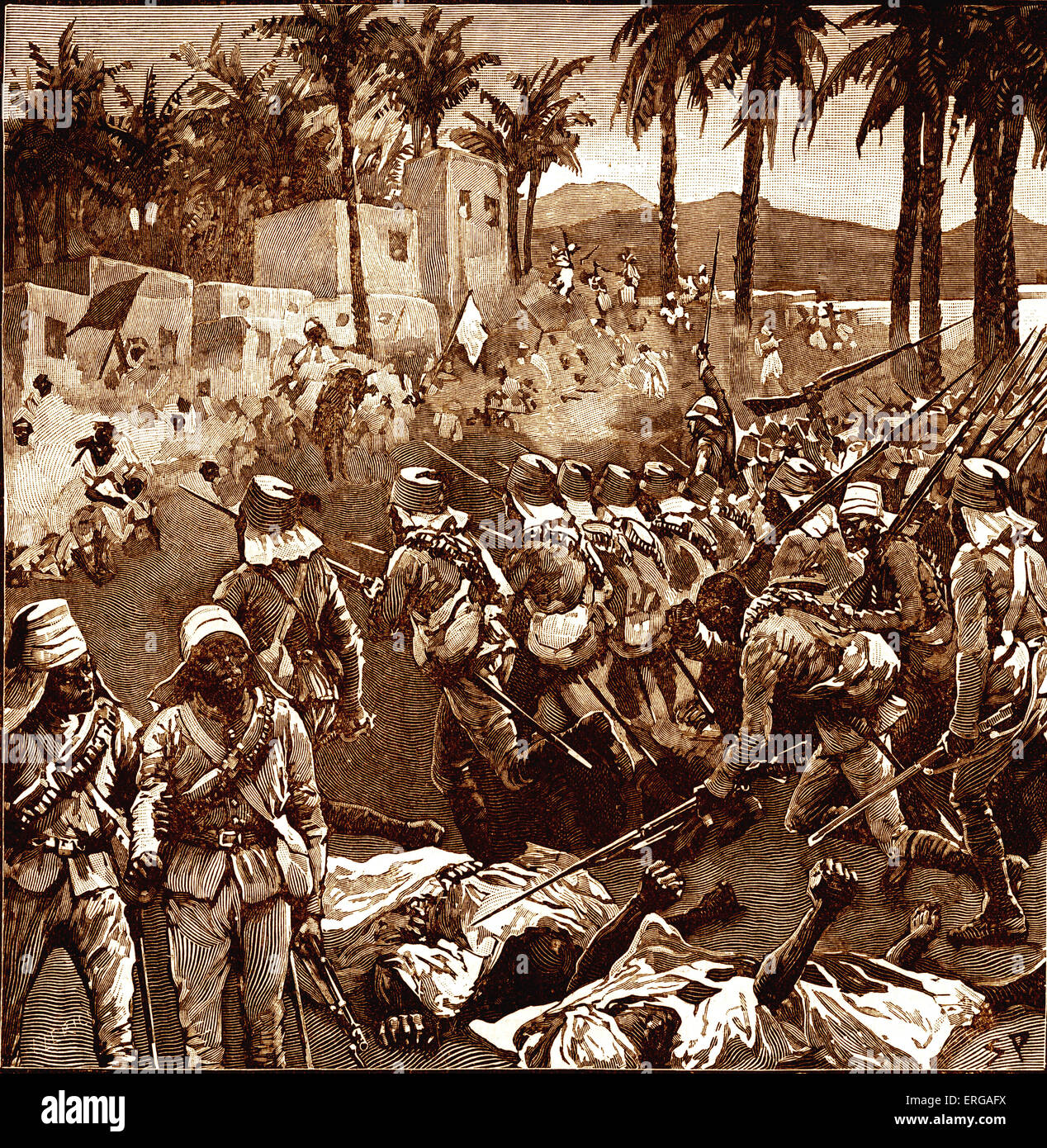 The Storming of Ferkah (or Firket), 1896. The Battle of Ferkeh occurred during the Mahdist War when an army of the Stock Photo