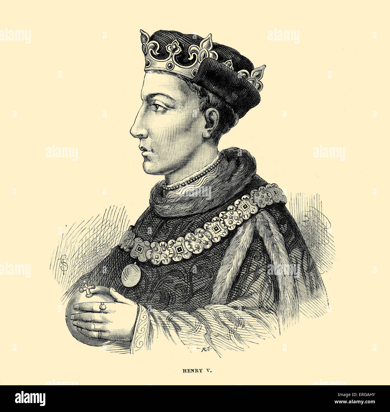 Henry V of England. Reigned from 1413 until his death. Recognised for military successes during the Hundred Years - Stock Image