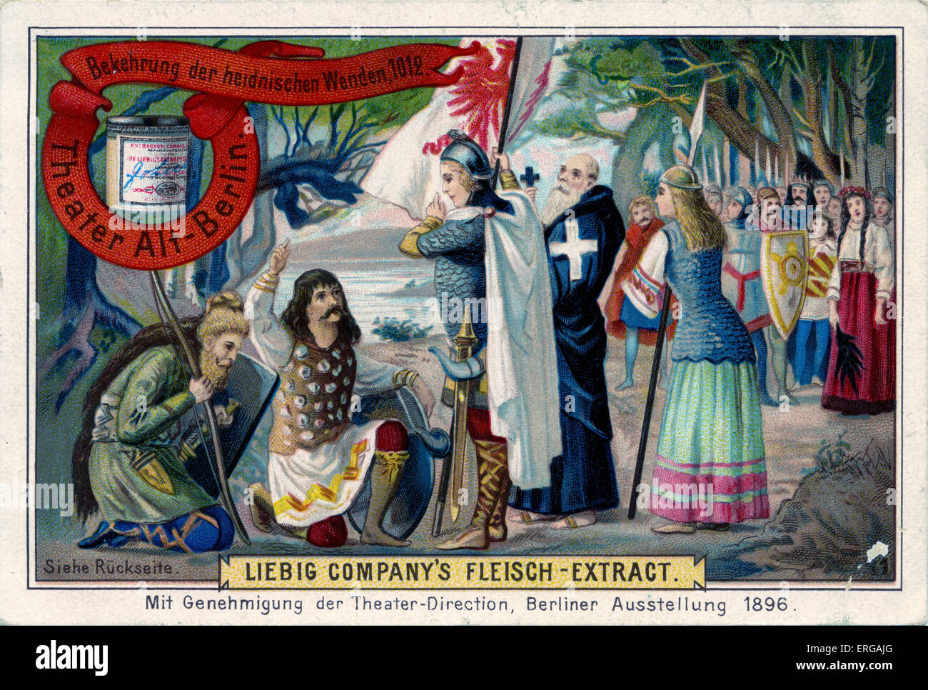 Conversion of heathens to Christianity in Wenden, 1012. From Liebig series: Teater Alt-Berlin, 1896,  No 1. - Stock Image