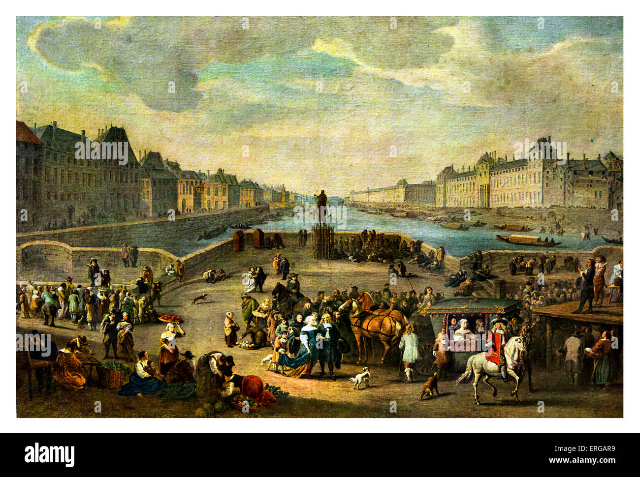 Carriage crossing Pont Neuf, 18th century, at the beginning of the reign of Louis XVI of France (23 August 1754 - Stock Image