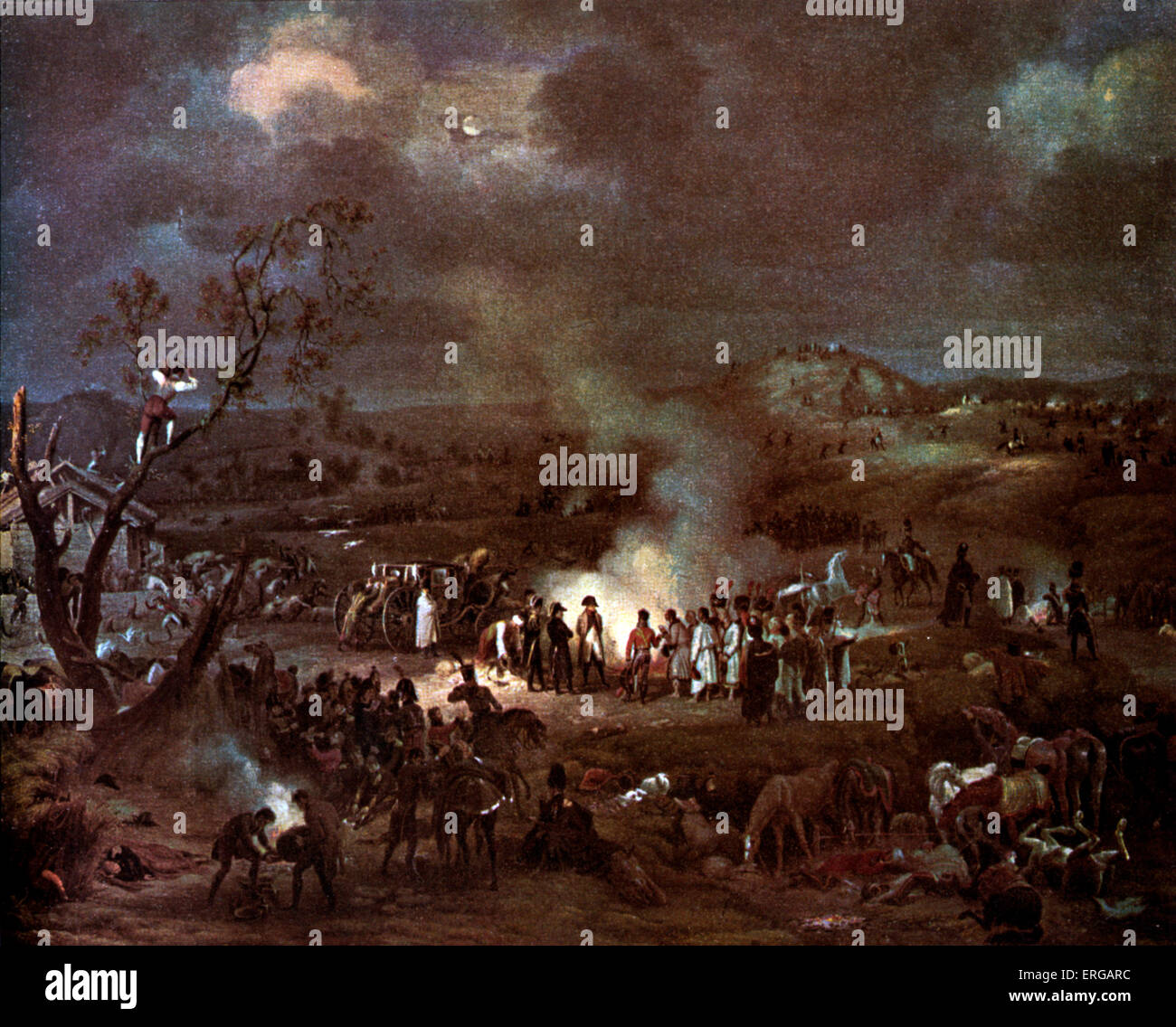 Napoleon I 's camp on the eve of the  Battle of Austerlitz, 1805.( his carriage, a berline, to left of group) - Stock Image