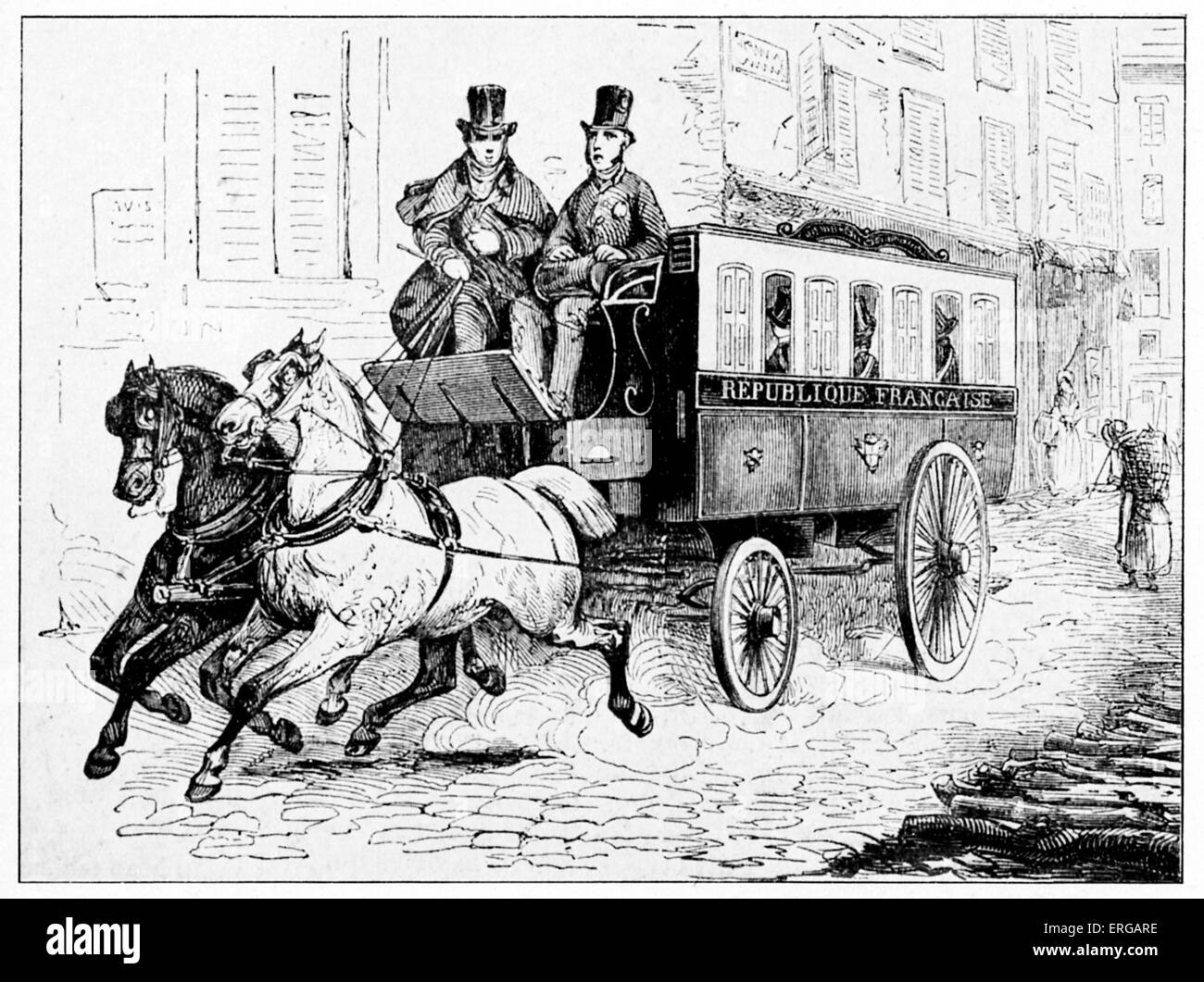 Postal omnibus used for delivery of letters in Paris,  France,1848. - Stock Image