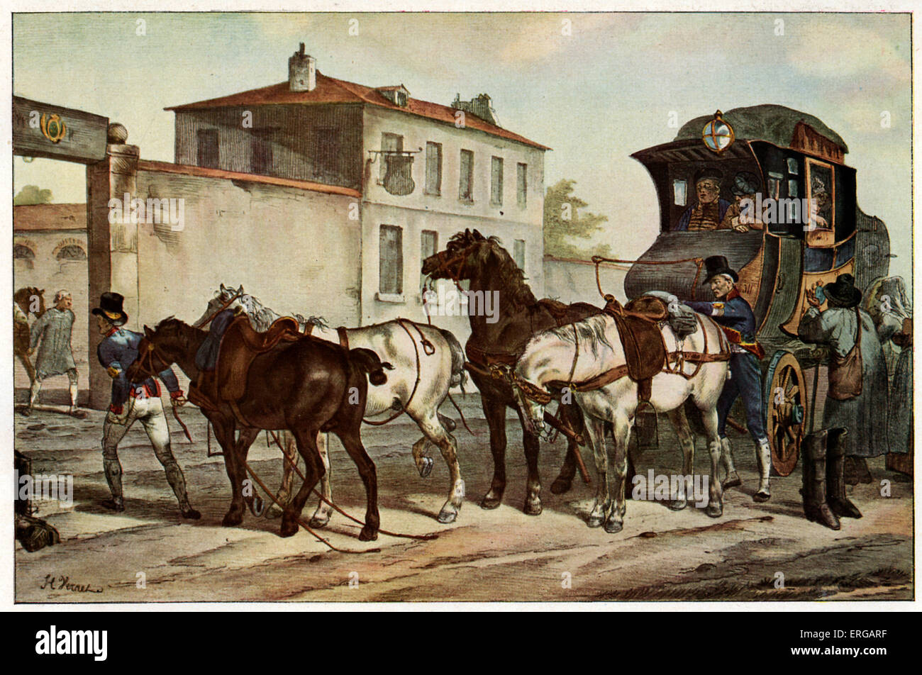 Mail coach at relay station on the road from Paris to Calais, ca 1825. After H. Vernet. - Stock Image