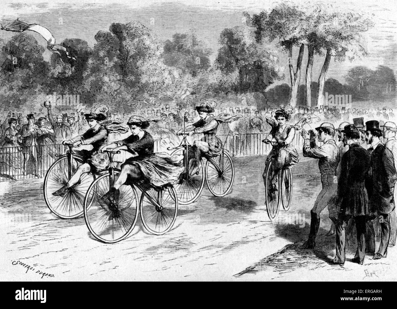 First bicycle race for women in France took place in a park in Bordeaux, 1 November 1868, with only four participants. - Stock Image