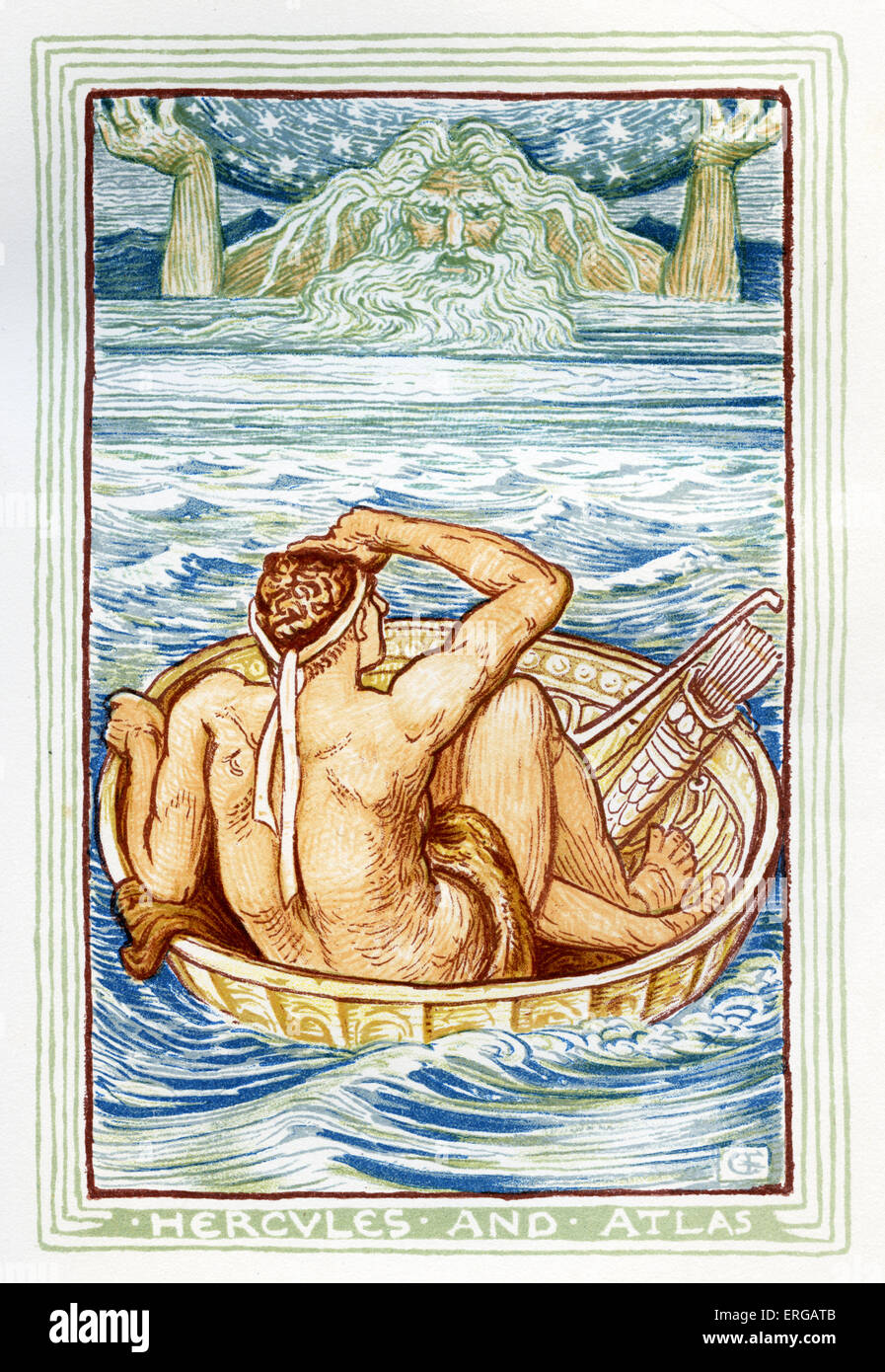Hercules and Atlas. Retelling of Greek Myths by Nathaniel Hawthorne (1804 – 1864). Illustrations by Walter Crane - Stock Image