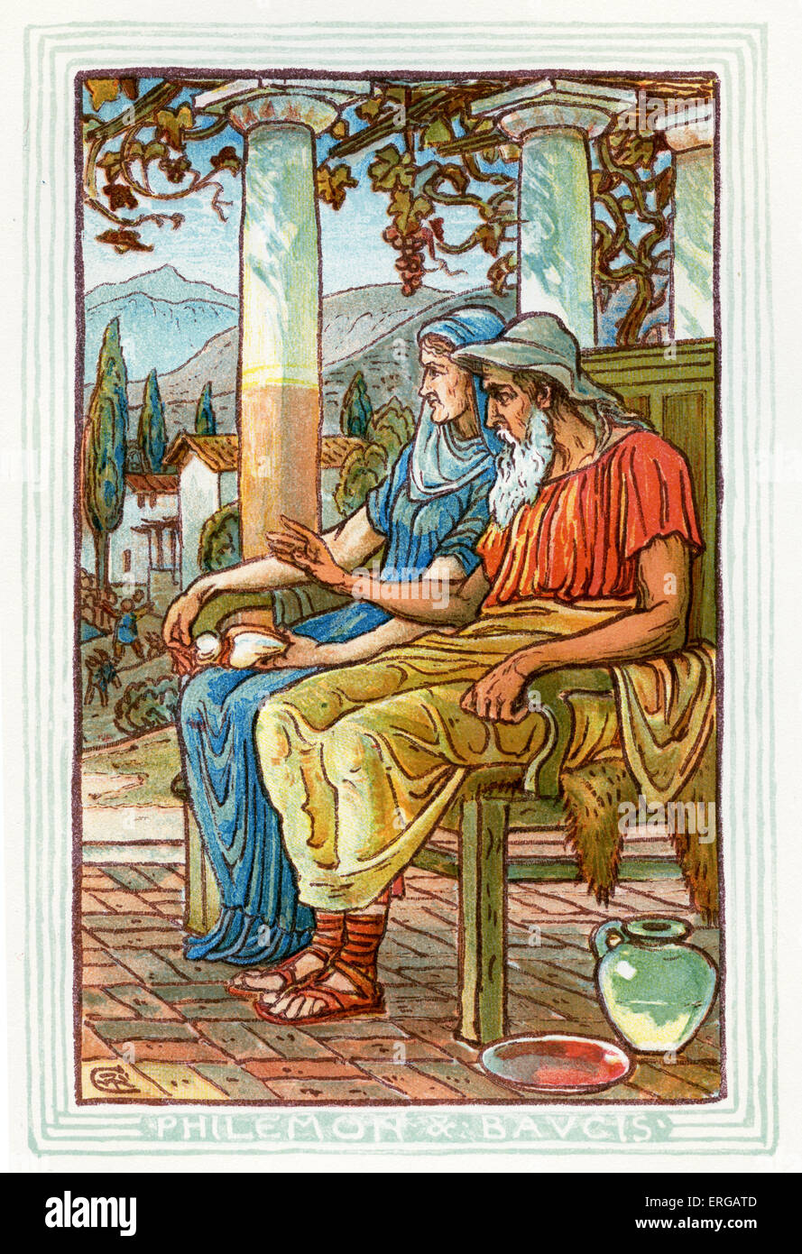 Philemon and Baucis. Retelling of Greek Myths by Nathaniel Hawthorne (1804 – 1864). Illustrations by Walter Crane - Stock Image