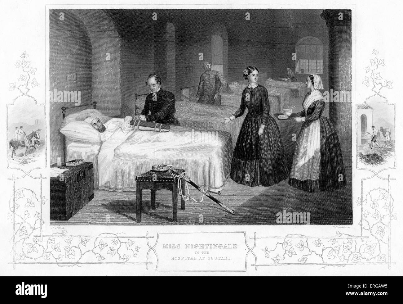 Crimean War: Florence Nightingale in the Hospital at Scutari. Nightingale (12 May 1820 – 13 August 1910) was a celebrated - Stock Image