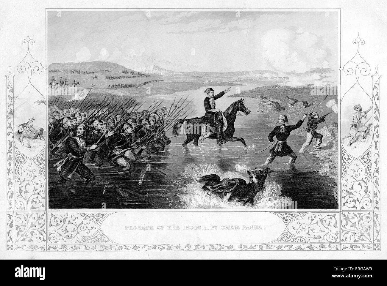 'Passage of the Ingour' by Omar Pasha (1806-1871) - scene from the Crimean War, 1854. Engraving by T. Sherratt. - Stock Image