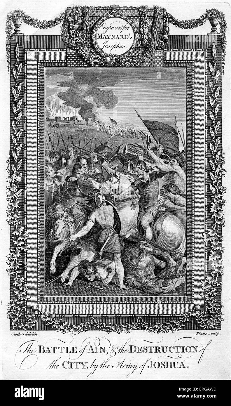 Battle of Ain and the Destruction of the City by the army of Joshua. Engraving by Blake. From George Henry Maynard - Stock Image