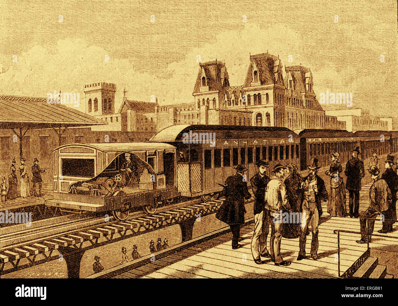 First electric train of the New York subway 19th century. 1885. Stock Photo