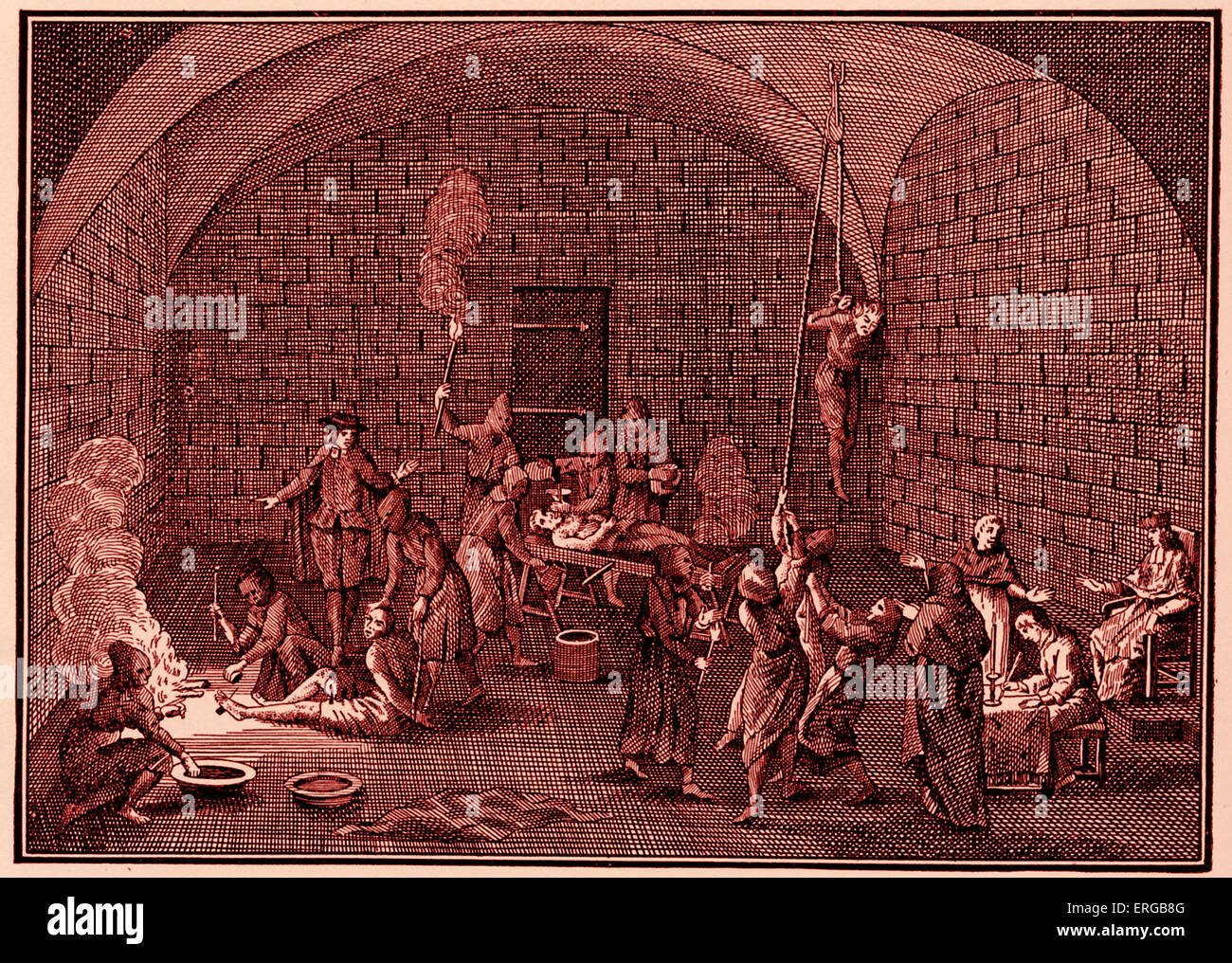 Spanish Inquistion tortures prisoners (after Picart) (Inquisition directed against Moslems and Jews) - Stock Image