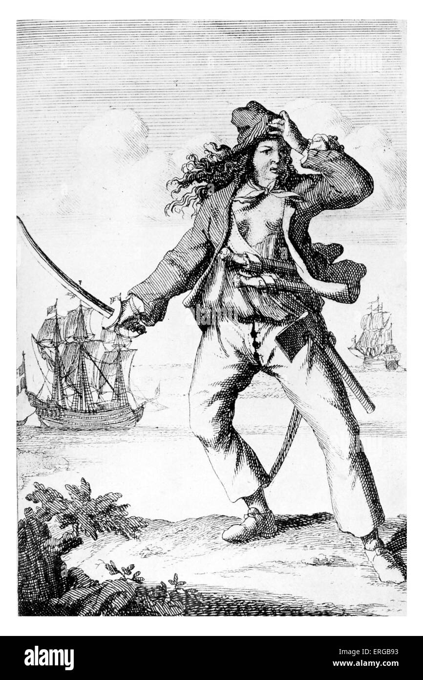 Mary Read  - English female pirate holding sword. Convicted of piracy during Golden Age of Piracy. Died 1721 - Stock Image