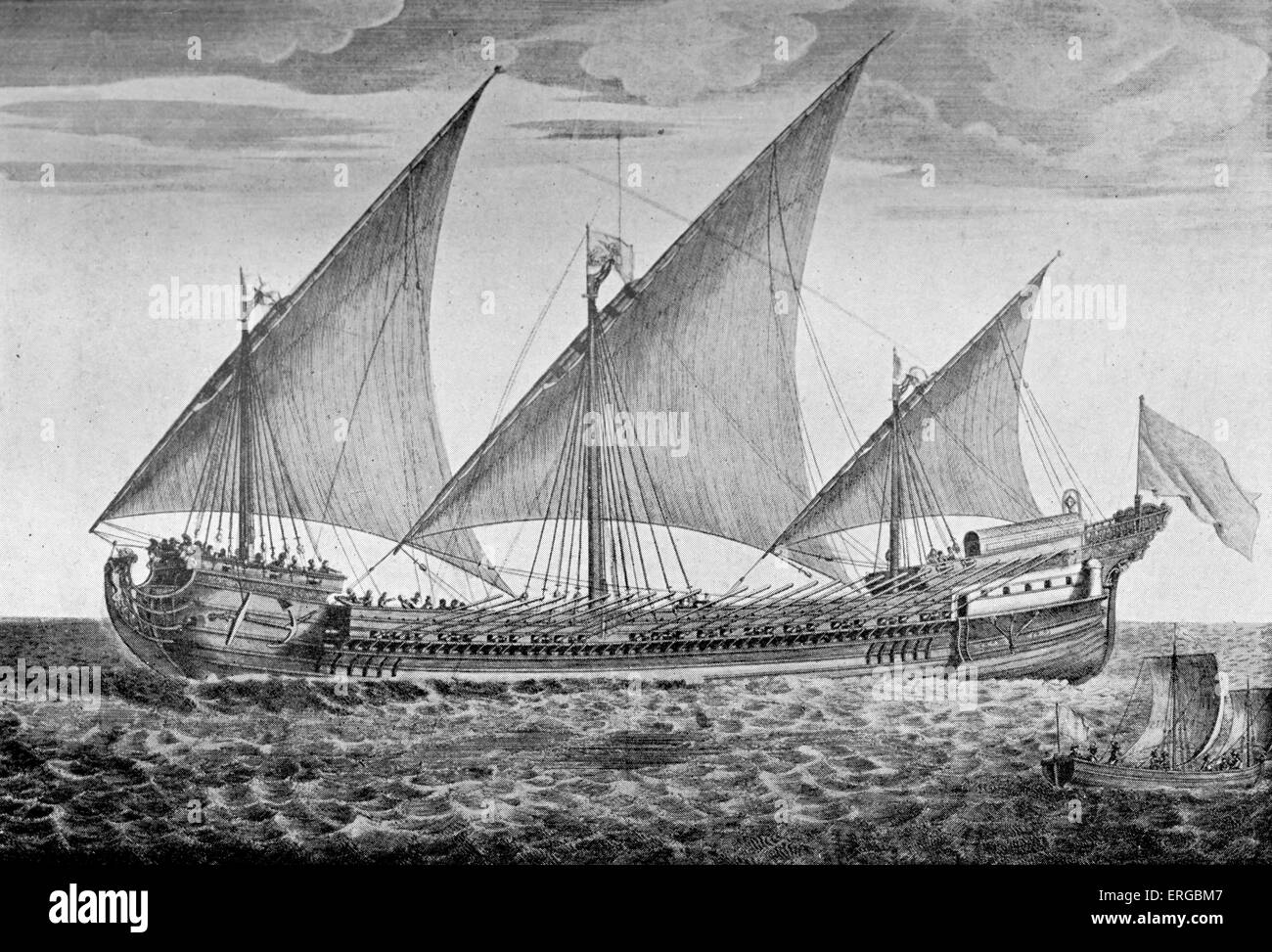 Galeasse - ketch used by pirates in 16th century. Both a sailing ship and rowing boat - Stock Image