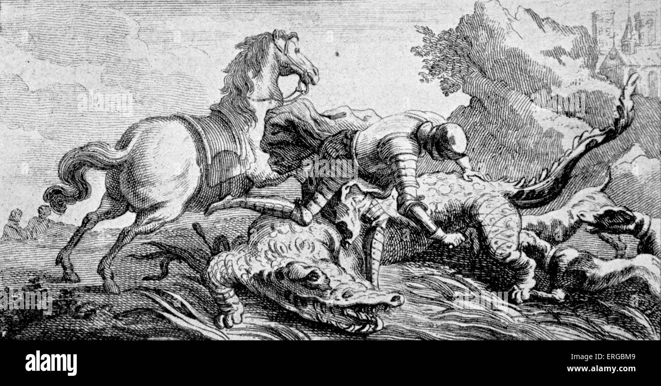Dieudonné de Gozon, slaying the great serpent of Rhodes (later to be described as a crocodile), and hung the headStock Photo