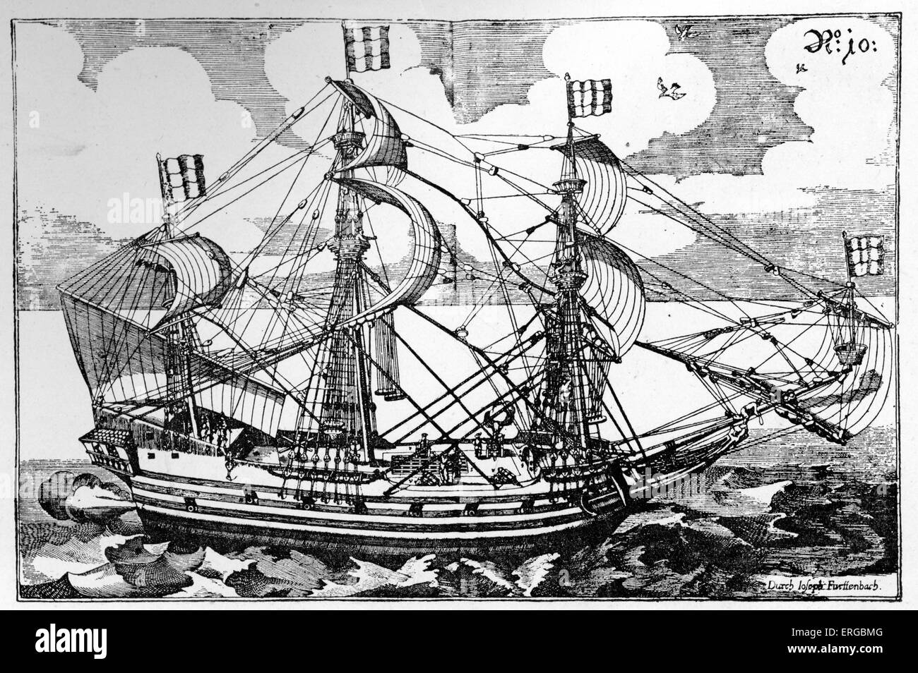 Galeasse - ketch used by pirates in 17th century. Both a sailing ship and rowing boat. From Furttenbach, Architectura - Stock Image