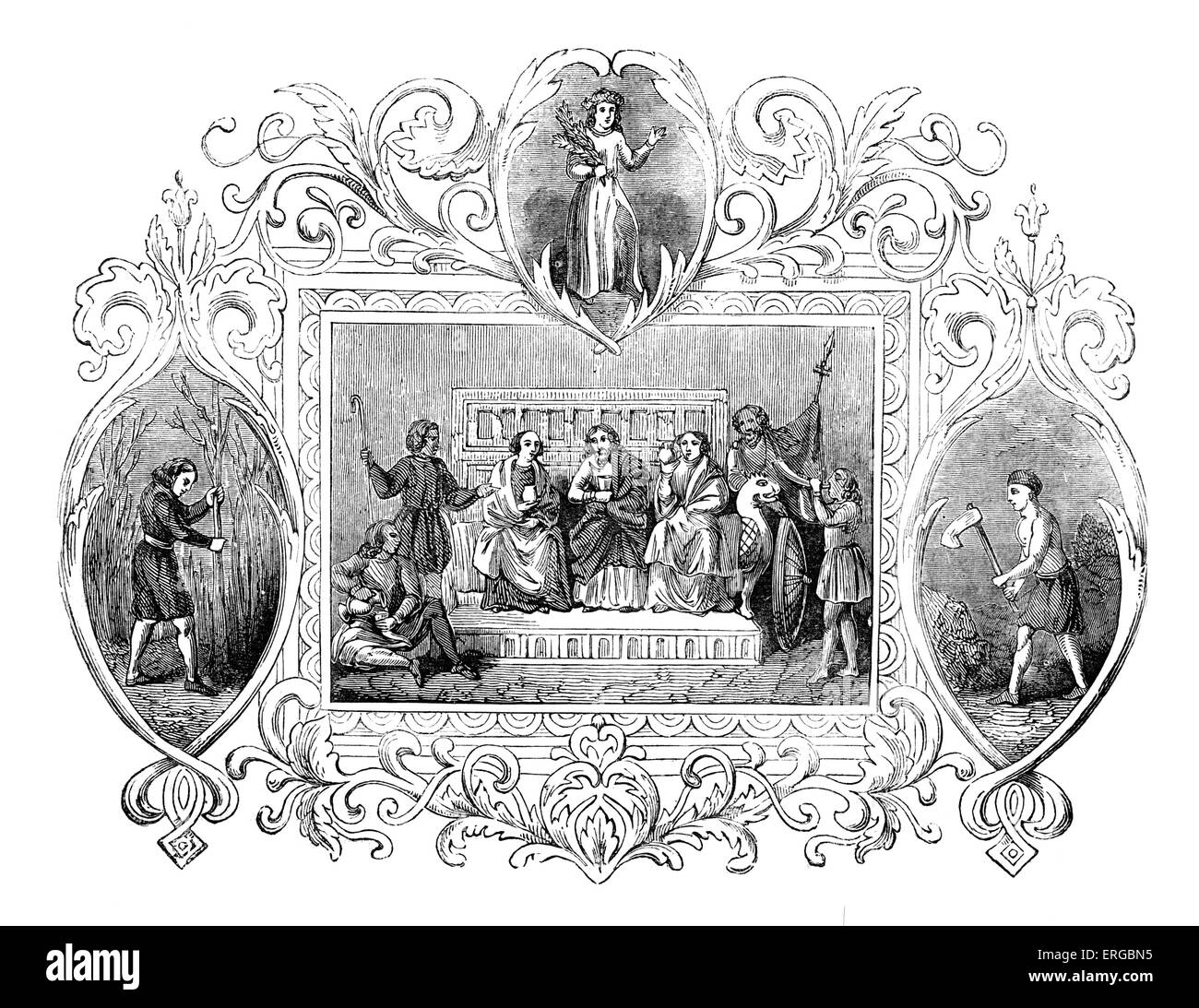 Saxon allegory for the month of April. Seasons - Stock Image