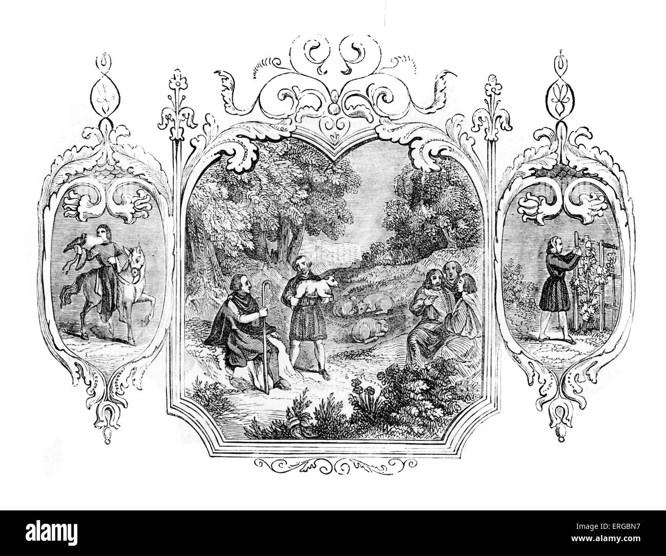 Saxon allegory for the month of May. Seasons - Stock Image