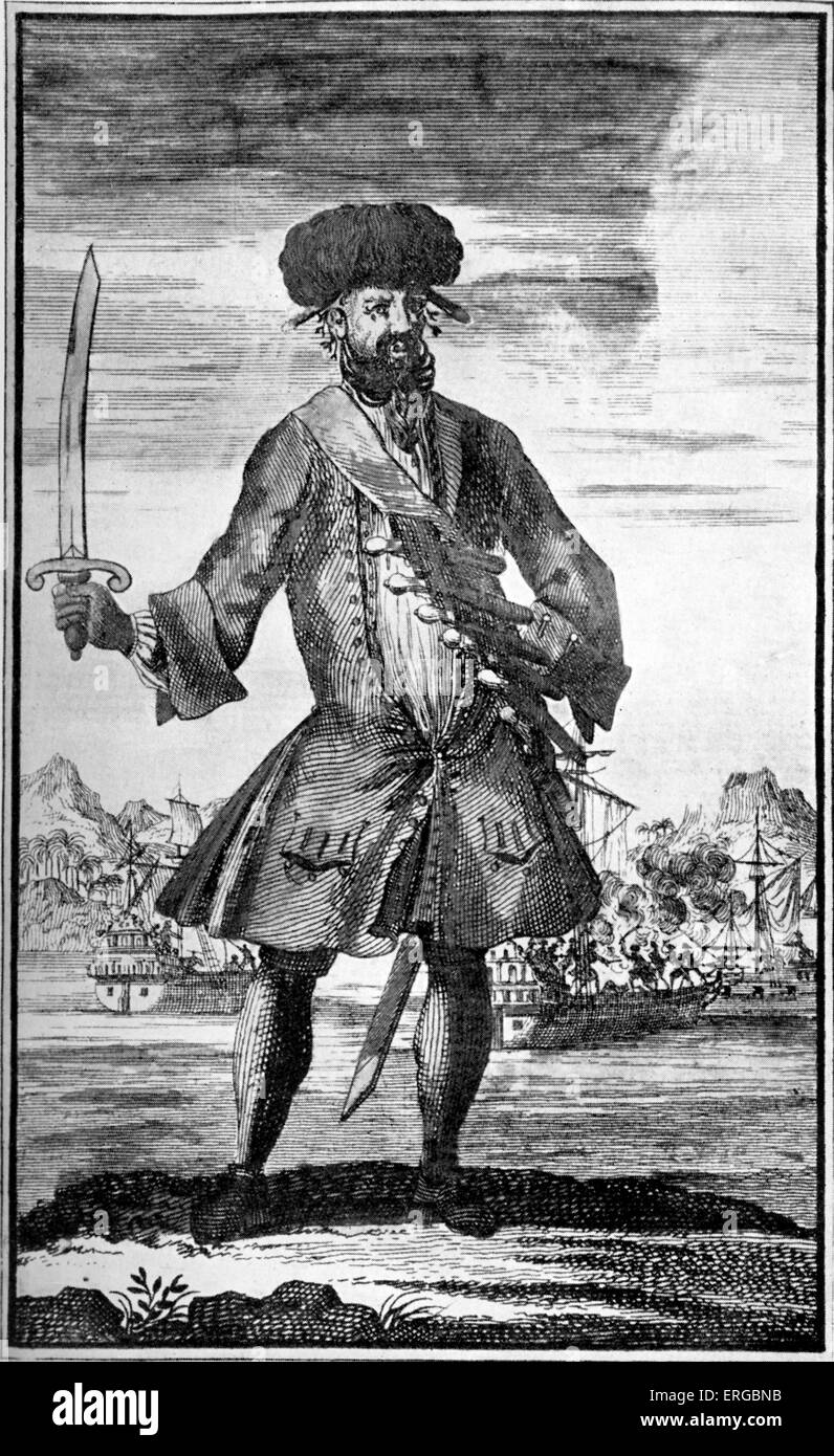 Pirate Edward Teach (Thatch, born Edward Drummond), commonly known as Blackbeard. English buccaneer in the Caribbean - Stock Image