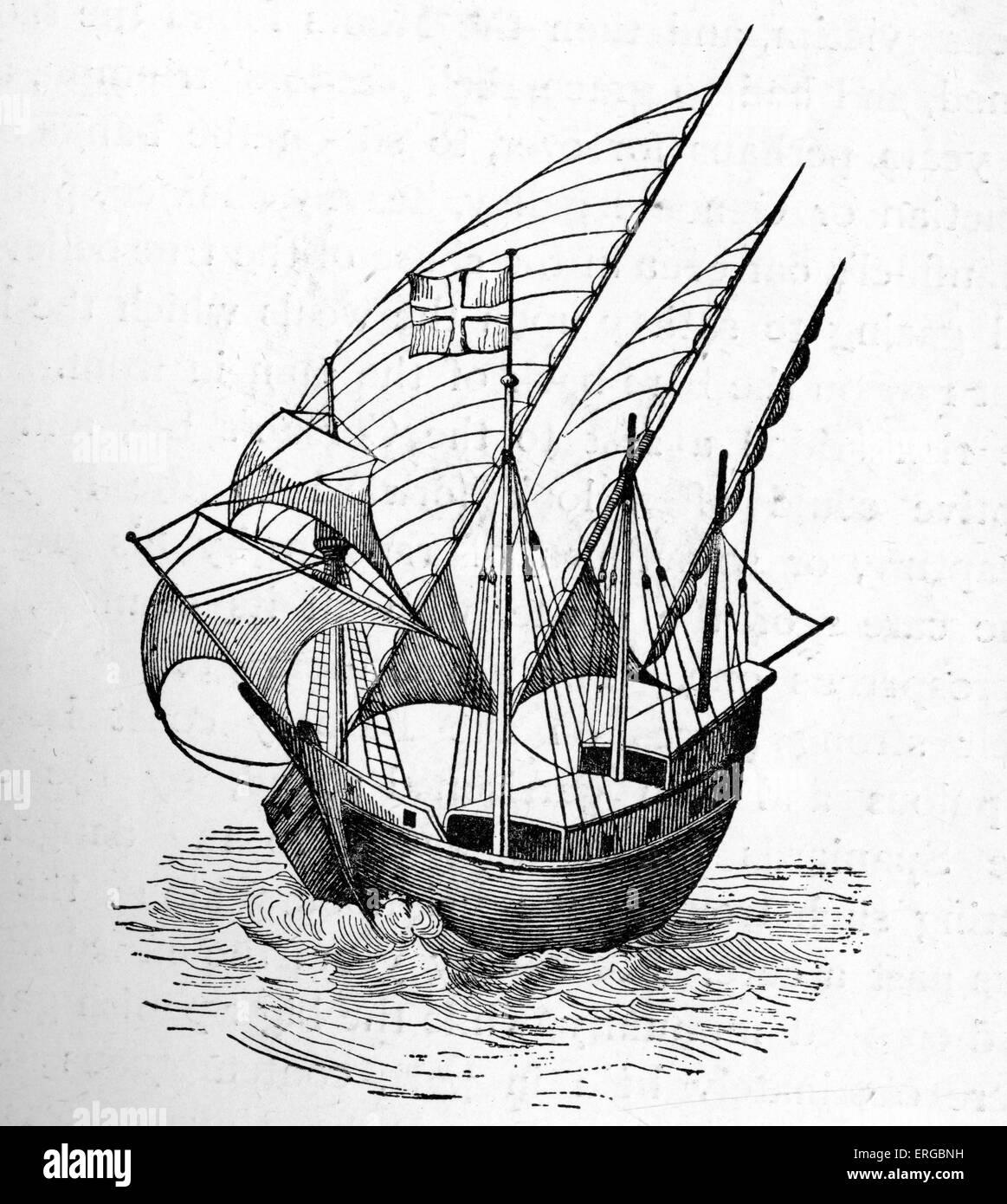 Caravel - 15th century. Ship used by pirates. (Jurien de la Graviere) - Stock Image