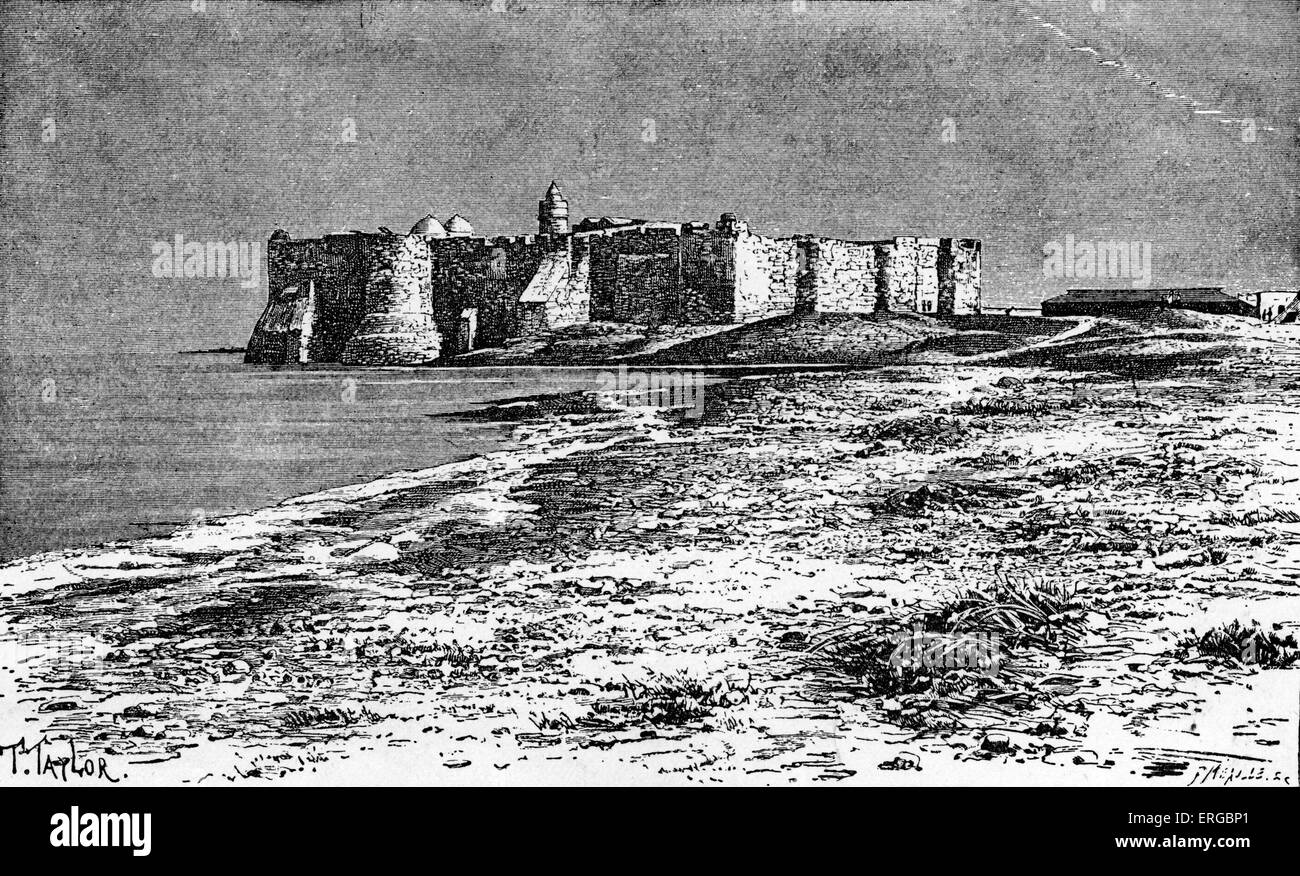 Castle of Djerba. Island off the coast of Tunisia, North Africa.B ackdrop for the Barbary corsairs. - Stock Image