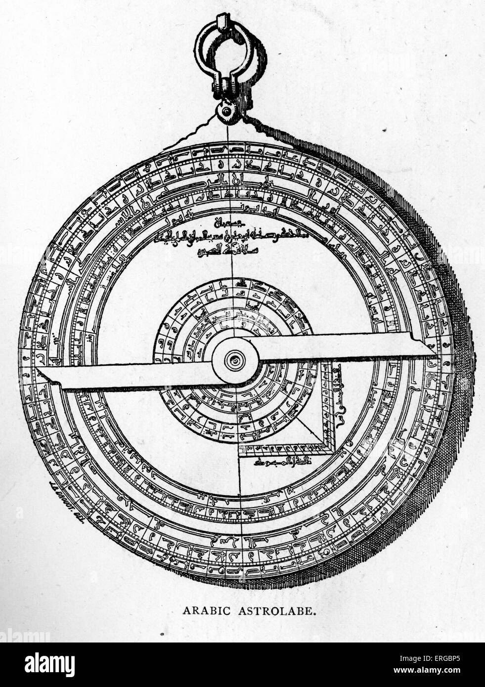 Arabic Astrolabe. Instrument  historically used by astronomers and  navigators to locate  the positions of the Sun, - Stock Image