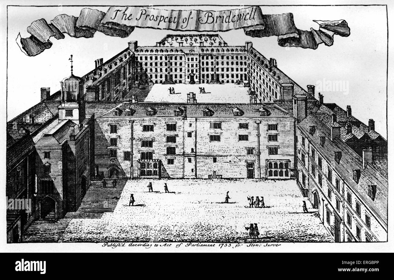 Bridewell Prison and Hospital, London. Created in 1556 by City of London,  on site of Bridewell Palace. Closed in 1856. From