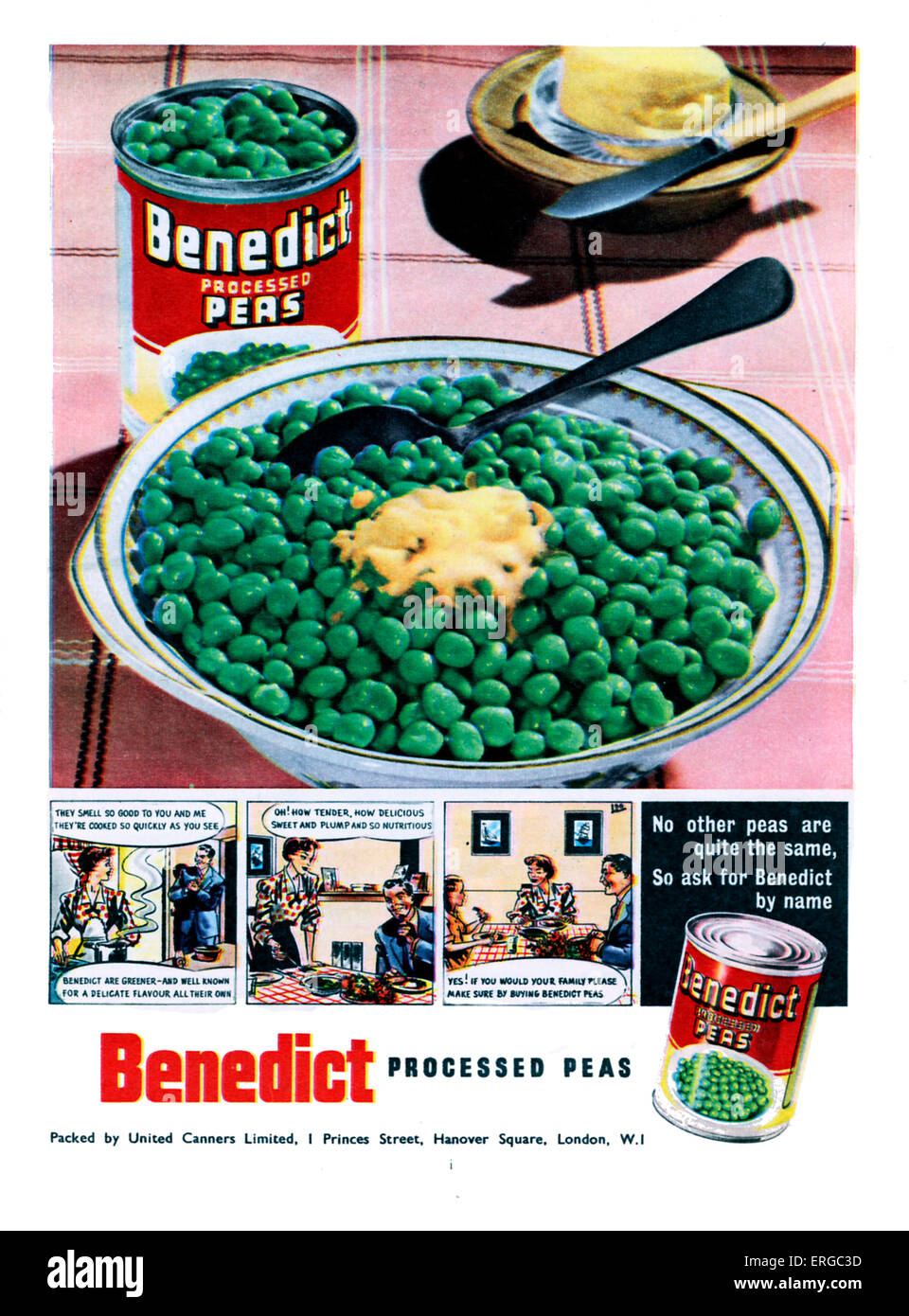 Advertisement for Benedict processed peas, tinned vegetables. Source 1951. Stock Photo