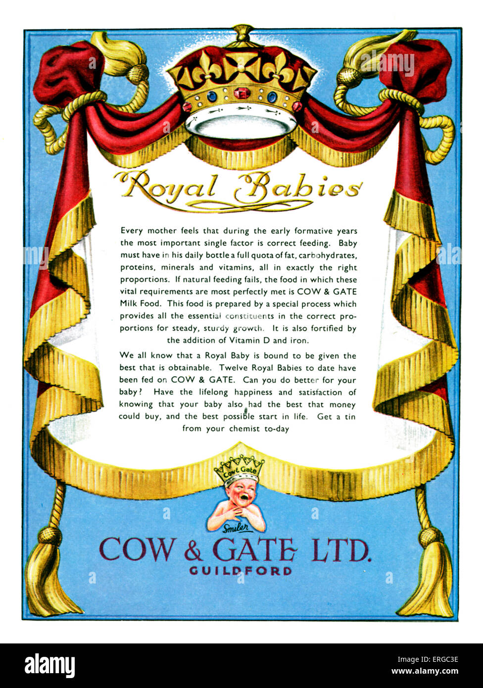 Advertisement for Cow & Gate baby baby milk powder.  Caption reads: Royal Babies - implying that royal babies - Stock Image