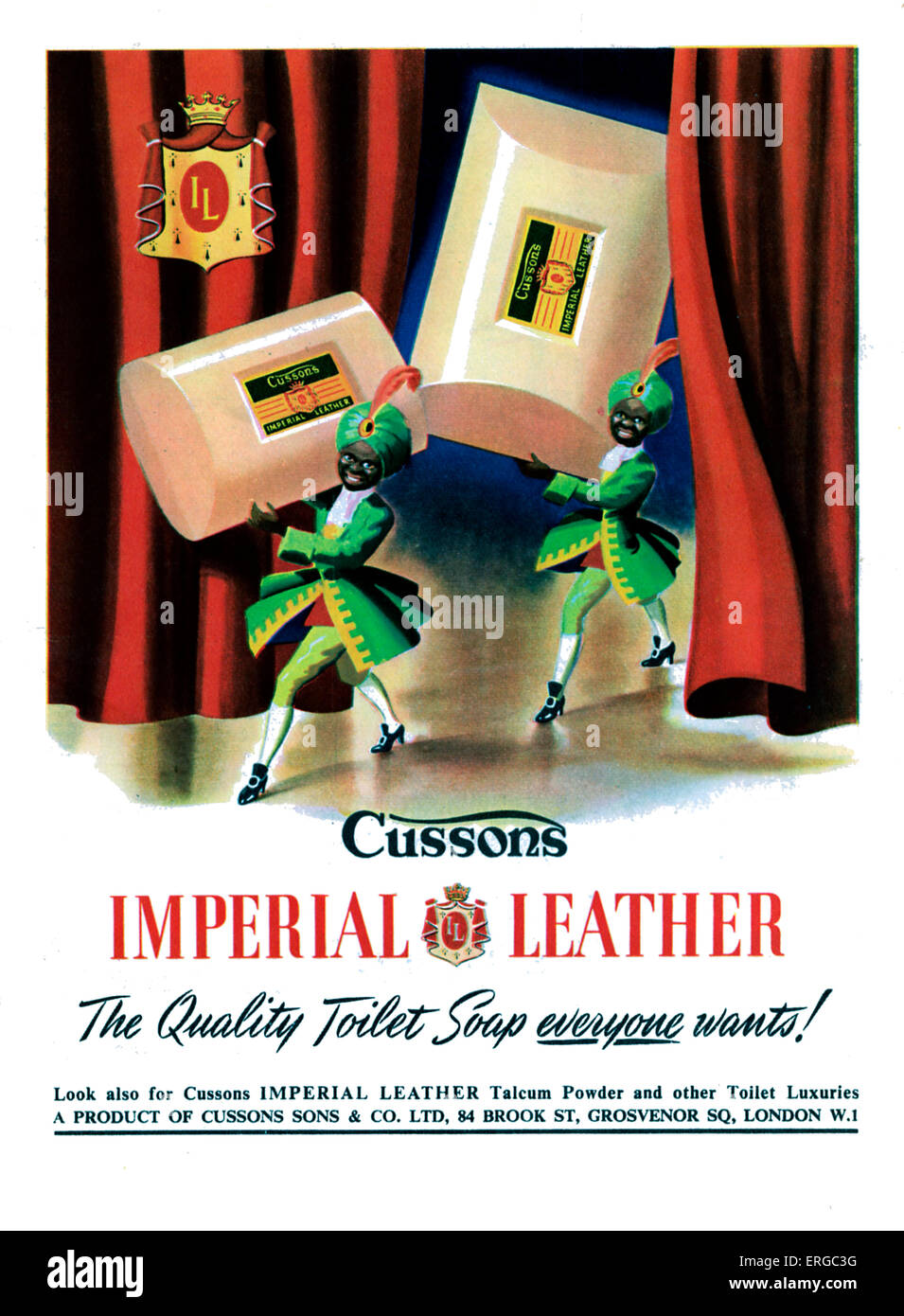 Advertisement for Cussons Imperial Leather soap.Source 1951. Caption reads 'The quality toilet soap everyone wants'. Stock Photo