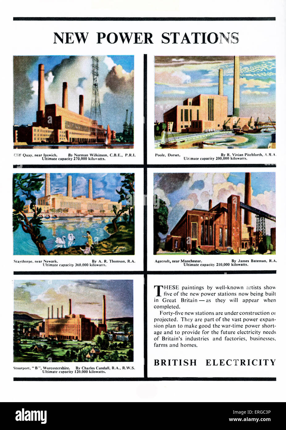 Advertisement for British Electricity, 1950s. Shows new power stations - Stock Image
