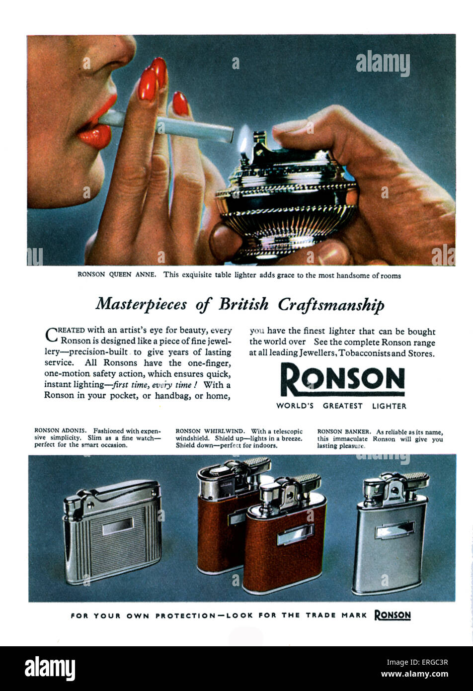 Advertisement for Ronson cigarette lighters, 1950s. A man's hand lighting a woman's cigarette. - Stock Image