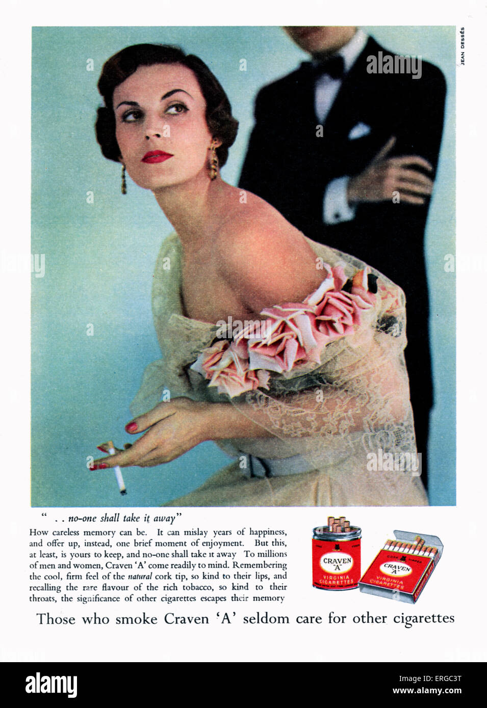 Advertisement for Craven 'A' cigarettes, 1950s. Glamorous woman in evening dress with cigarette. - Stock Image