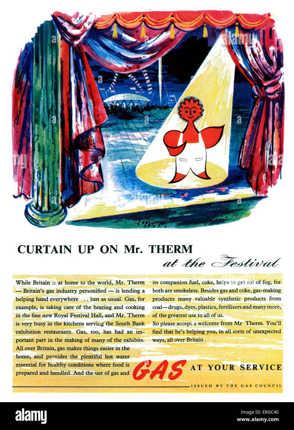 Gas Council advertisement - Mr. Therm, 1950s. Caption: Curtain up on Mr Therm at the Festival.  ..Gas at your Service. Stock Photo