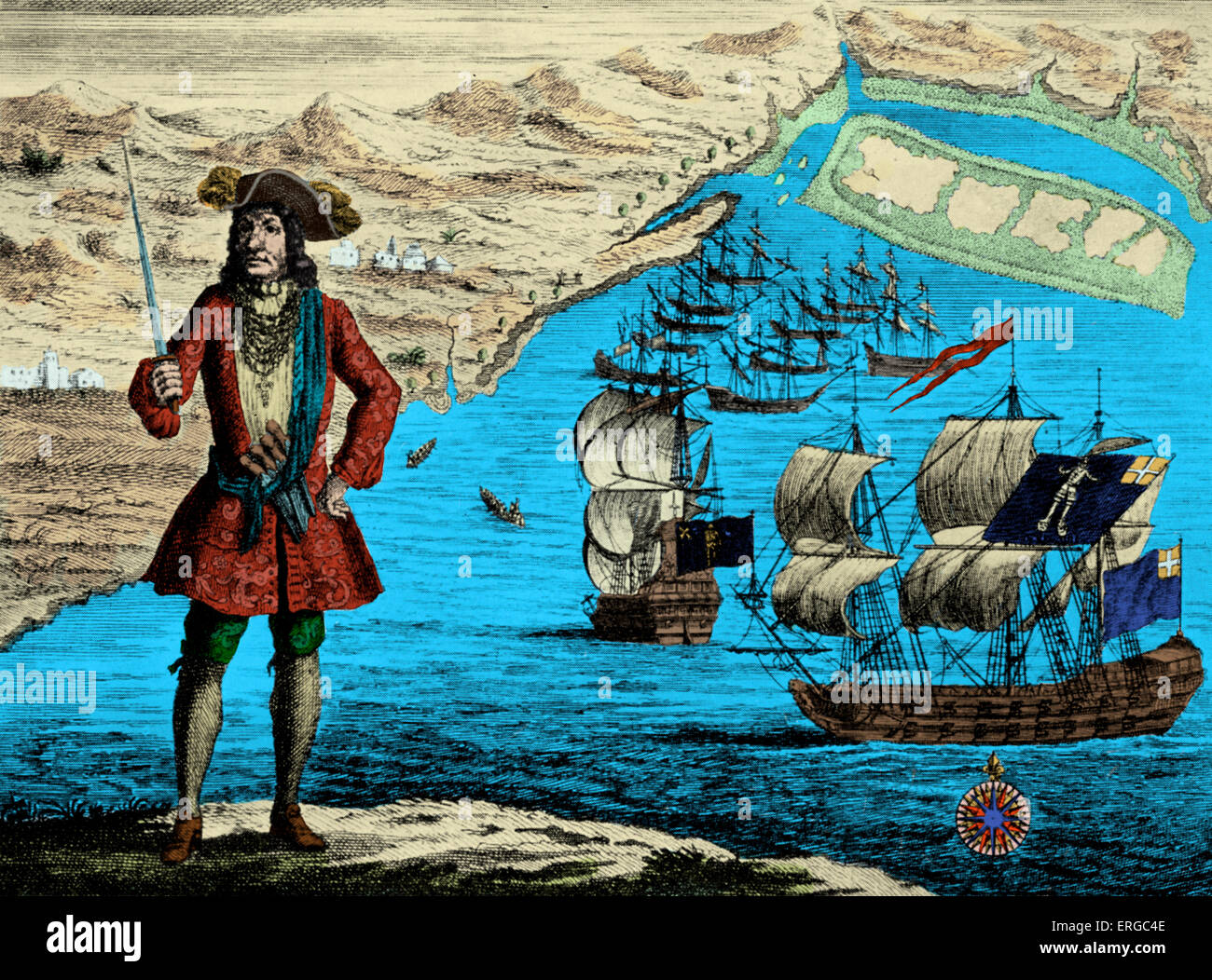Captain Bartholomew Roberts with two ships, 'The Royal Fortune' and 'The Ranger' on the coast of - Stock Image