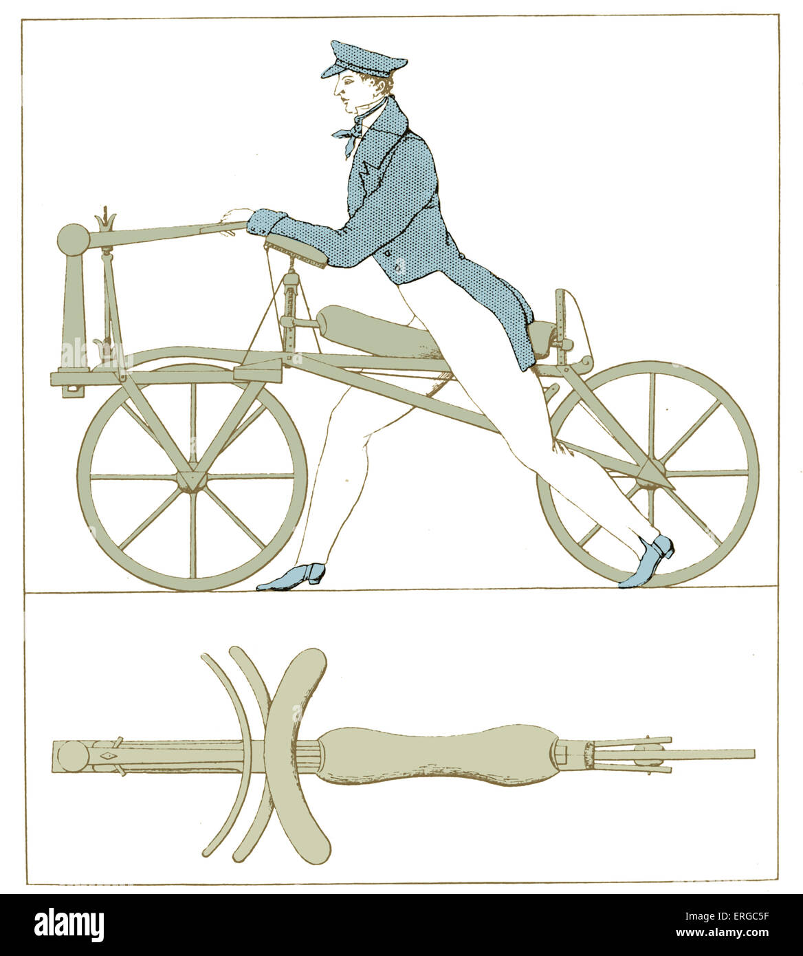 First dandy horse or hobby horse (French: draisienne or draisine or velocipede), two-wheeled man-powered vehicle - Stock Image