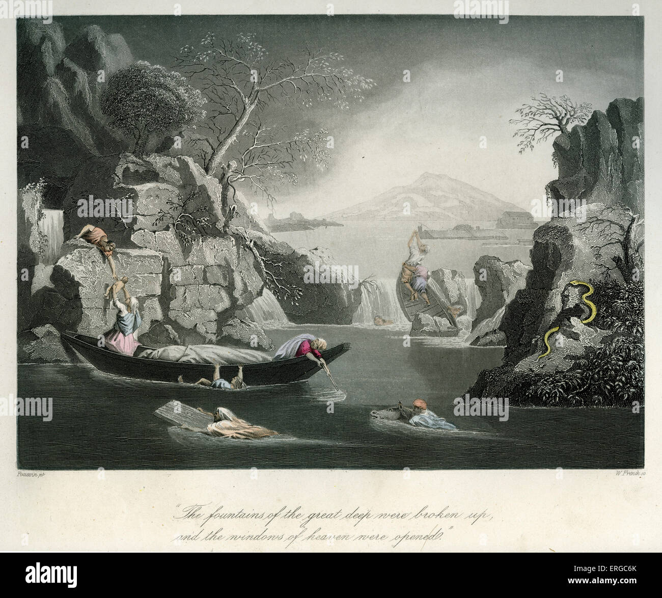 The beginning of the flood. Caption reads: ' The fountains of the great deep were broken up, and the windows - Stock Image