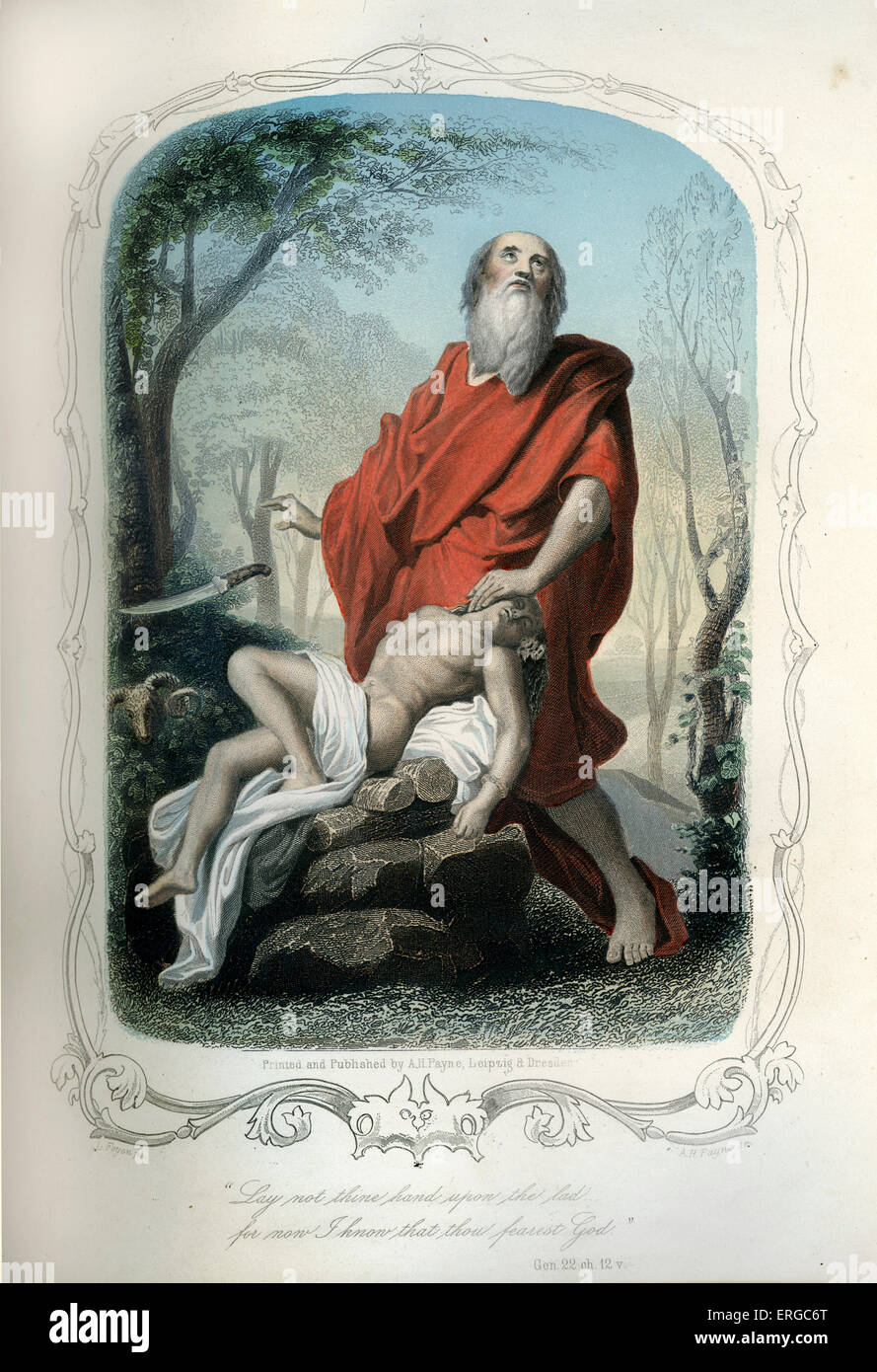 Abraham prepares to offer his son Isaac as sacrifice. Caption reads: ' Lay not thine hand upon the lad for now - Stock Image